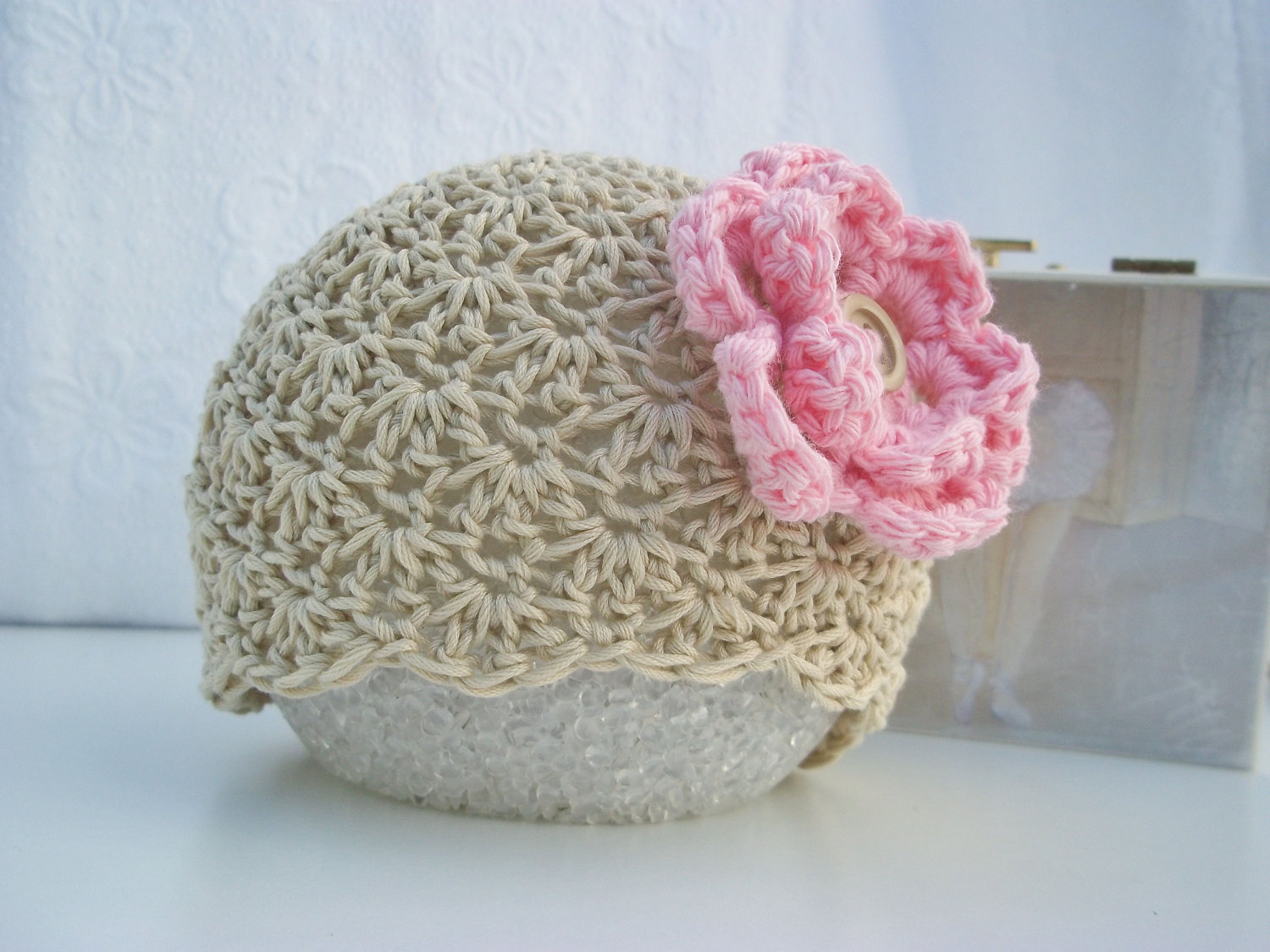Free Crochet Pattern For A Newborn Hat : Crochet baby hat Baby girl hat Newborn baby hat Beige Tan ...
